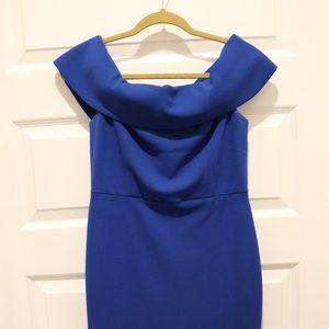 NWOT 6 Blue Calvin Klein off the shoulder dress